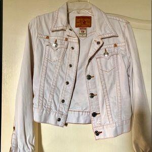 White denim true religion jacket